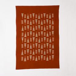 型染めの多用布190×120 (マルチクロス・テーブルクロス・スロー) <塔と市松>/山内武志さん(山内染色工房・アトリエぬいや)