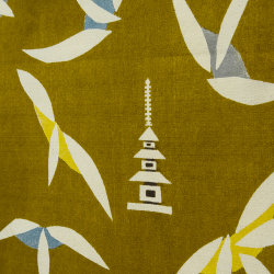 型染めの多用布190×120 (マルチクロス・テーブルクロス・スロー) <塔と散華>/山内武志さん(山内染色工房・アトリエぬいや)